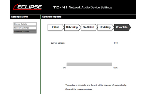 Software Update Procedure | ECLIPSE Home Audio Systems